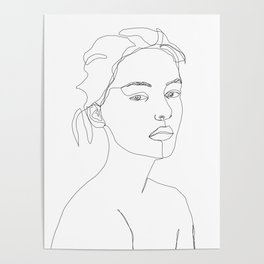 Models face single line drawing - Grey Poster