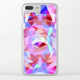 Abstract pink lavender baby blue kaleidoscope pattern Clear iPhone Case