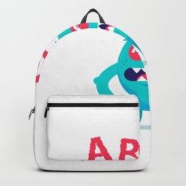 Growl Terrible Blue Monster Child Had Nightmare Flat Illustration Isolated White Background Backpack