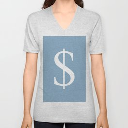 dollar sign on placid blue color background Unisex V-Neck