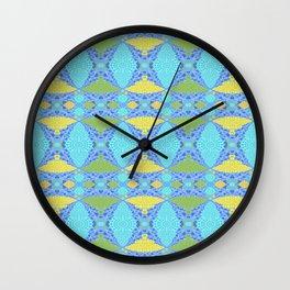 Mid century modern inspired geometric quilt print Wall Clock