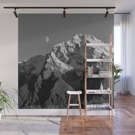 Moon Over Pioneer Peak B&W Wall Mural