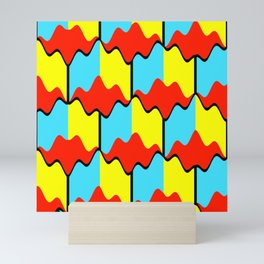 Abstract geometric conceptual bold design pattern of yellow blue squares and red wavy shapes Mini Art Print