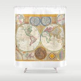 1794 Vintage World Map Samuel Dunn Shower Curtain