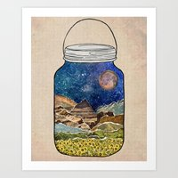 collage Art Prints featuring Star Jar by Jenndalyn