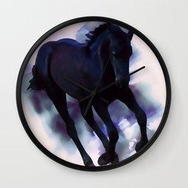 A Friesian foal's morning joy Wall Clock