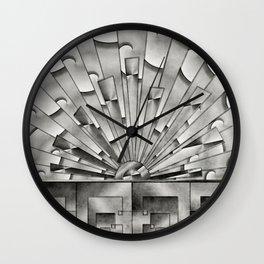 Mercury Glass Art Deco Sunburst Wall Clock