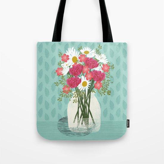 Vase of Daisies floral flowers spring summer mother's day illustration Andrea Lauren Tote Bag