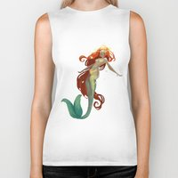 halo Biker Tanks featuring Halo Mermaid by Yolanda martinez
