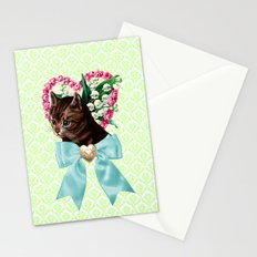 Retro Vintage Floral Cat with Bow Stationery Cards