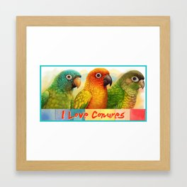 Sun blue-crowned green-cheeked conures realistic painting Framed Art Print