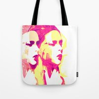 faces Tote Bags featuring Faces by Paola Rassu