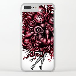 Spaceship Girl_Red Clear iPhone Case