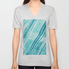 Abstract Marble - Teal Turquoise Unisex V-Neck