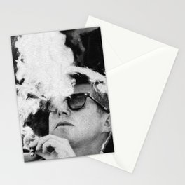 John F Kennedy Cigar and Sunglasses Black And White Stationery Cards