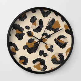 Leopard Print – Neutral Gold Light Palette Wall Clock