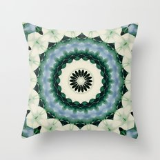 White Flower and Cerulean Blue Mandala Throw Pillow
