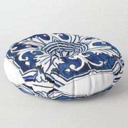 Blue and White Floral Portuguese Tile Floor Pillow