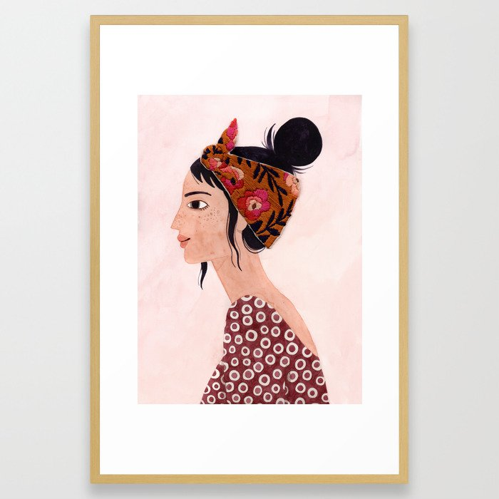 Embroidered scarf Framed Art Print