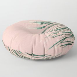 Green on Coral | Botanical modern photography print | Tropical vibe art Floor Pillow