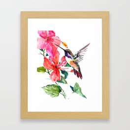 Hummingbird and Hibiscus Framed Art Print