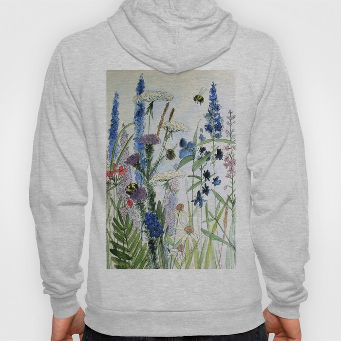 Wildflower in Garden Watercolor Flower Illustration Painting Hoody