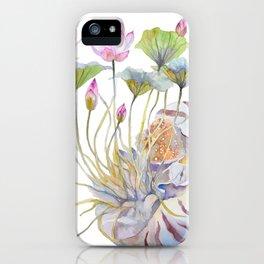 Nautilus and Lotus Surreal Watercolor Creature iPhone Case