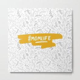 #momlife - Mustard & Grey Metal Print