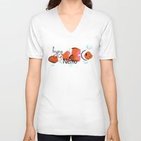 nemo V-neck T-shirts featuring frying nemo by Lazar Alex