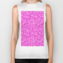Hot Pink Glitter Texture Print Biker Tank