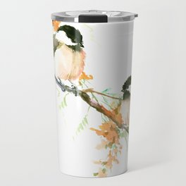 Chickadees and Orange Flowers Travel Mug