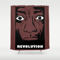 political Shower Curtains featuring political revolution, fight for your rights by gran mike