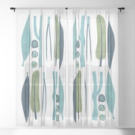 Sticks and Stones Illustration Sheer Curtain