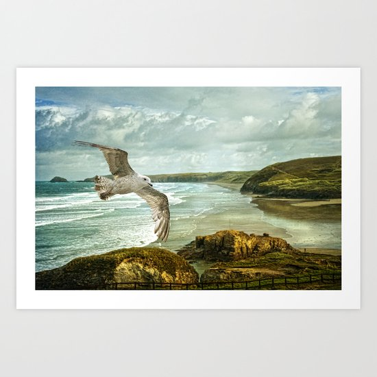 Perranporth Beach Cornwall Art Print