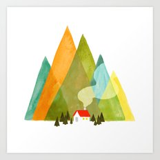 House at the foot of the mountains Art Print