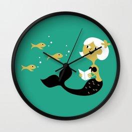 Reading Mermaid Wall Clock