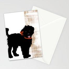 Black Labradoodle dog Stationery Cards