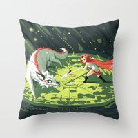 wallet Throw Pillows featuring Duel by Freeminds