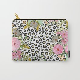 Elegant leopard print and floral design Carry-All Pouch