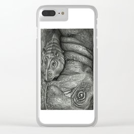 Baby Pygmy Hippo with Mother - Vulpecula Clear iPhone Case