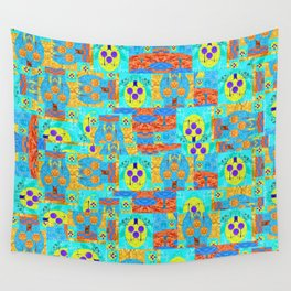 Abstract Patchwork Pixelquilt Wall Tapestry