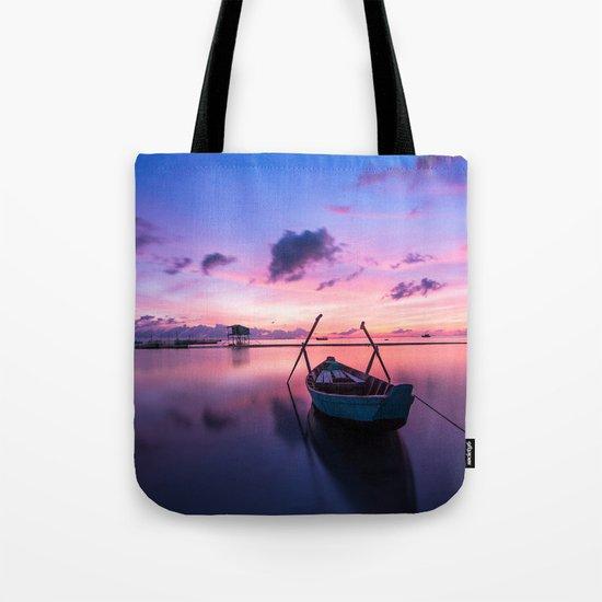 Boat and Sunrise Tote Bag