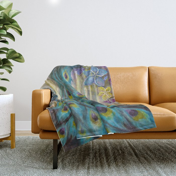Jeweled Peacock Throw Blanket