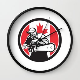 Canadian Tree Surgeon Chainsaw Canada Flag Wall Clock