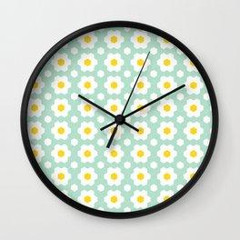 Honeycomb Daisies (Mint Green)  Wall Clock