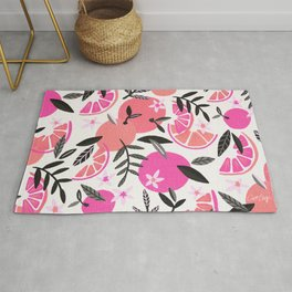 Orange Blooms – Pink & Black Rug
