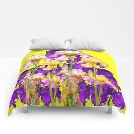 Purple Yellow & Purple Iris Flowers Comforters