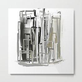 Black, White, Light Bronze City Metal Print