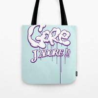 gore Tote Bags featuring Gore j'adore by Iksoner