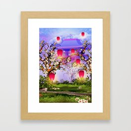 Pink lanterns with cherry blossom and mountain temple Framed Art Print